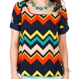 Francesca's High Point Chevron Striped Blo…